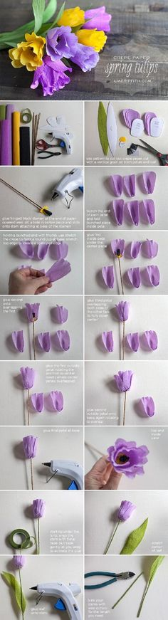 DIY Crepe Paper Tulips - 17 Blossoming DIY Spring Decorating Tutorials | GleamItUp