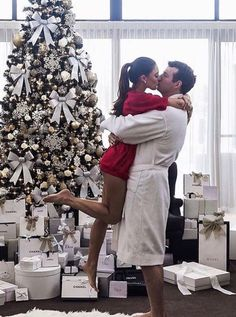This is the kind of Christmas morning I'd love. A sweatshirt, a kiss, beauty, and all that Chanel