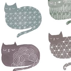 Cat Loaf City by Sarah Walsh di PetitReve su Etsy, $20.00