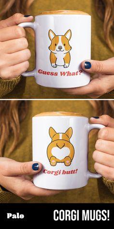 Guess What? - Limited Edition Mug Cute Little Animals, Cute Funny Animals, Funny Cute, Funny Dogs, Funny Animal Quotes, Animal Jokes, Cute Corgi, Cute Puppies, Corgi Mug