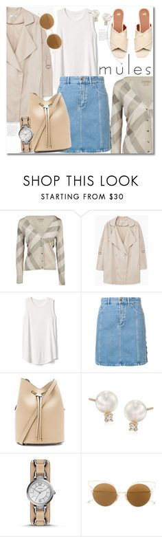 """""""Get the look"""" by vkmd ❤ liked on Polyvore featuring Burberry, MANGO, Gap, Chloé, Kendall + Kylie, Mikimoto, FOSSIL, Dita and mules"""