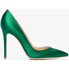 Gianvito Rossi Green Satin 105 Pumps ($600) ❤ liked on Polyvore featuring shoes, pumps, pointy toe stiletto pumps, high heel stilettos, green shoes, stiletto pumps and pointed toe high heels stilettos