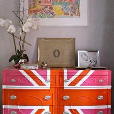 Union Jack with pink  DIY dresser