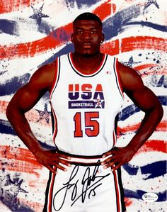 Real Deal Memorabilia Larry Johnson Signed - Autographed Olympic Dream Team USA 8 x 10 in. Photo with PSA & DNA Certificate of Authenticity Basketball Shoes Kobe, Basketball Court Size, Basketball Academy, Team Usa Basketball, Indiana Basketball, Basketball Uniforms, Basketball Hoop, Larry Johnson, Dream Team