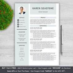Modern Resume Template for Word  Cover Letter  by ProResumeDesign