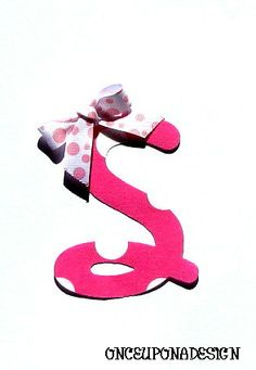 Pink Polka Dot Cursive Letter...Fabric Iron On by OnceUponaDesign, $3.00