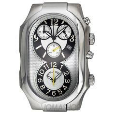 Philip Stein Oversized Chronograph Dual Time Mens Watch 3-NGW $650