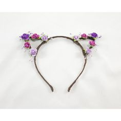Purple Ombre Floral Crown Cat Ears ($28) ❤ liked on Polyvore featuring accessories, hair accessories, floral garland, purple garland, twist headband, floral crown and boho flower crown