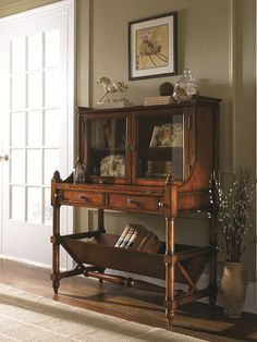 Hidden Treasures Flip-Top Secretary with fold out writing surface with leather inlay.