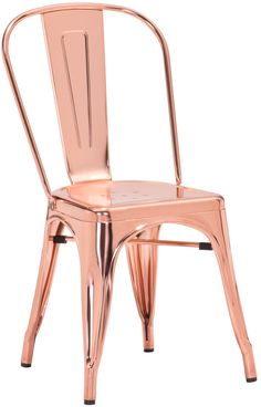 Dreux Stackable Chrome Rose Gold Steel Side Chair (Set of ❤ Design Lab MN Colored Dining Chairs, Metal Dining Chairs, Dining Chair Set, Bar Chairs, Gold Chairs, Dining Room, Desk Chairs, Kitchen Dining, Copper Kitchen