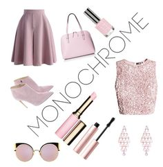 """""""Monochrome"""" by jweber03 ❤ liked on Polyvore featuring Chicwish, Ralph Lauren, Kate Spade, Clarins, Too Faced Cosmetics, Fendi and Topshop"""