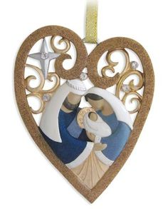 """Nativity Heart Ornament"" for Legacy of Love Nativities by Kim Lawrence - from Fiddlesticks Nativity Ornaments, Christmas Nativity Scene, Felt Christmas Ornaments, Handmade Christmas, Christmas Crafts, Christmas Decorations, Nativity Scenes, Christmas Printables, Xmas"
