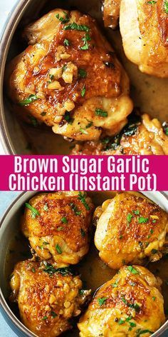 Juicy and fall-off-the-bone chicken thighs with brown sugar garlic sauce, pressu.Juicy and fall-off-the-bone chicken thighs with brown sugar garlic sauce, pressure cooked in an Instant Pot for 8 mins. Instant Pot chicken dinner is so Crockpot Recipes, Chicken Recipes, Cooking Recipes, Healthy Recipes, Dinner Crockpot, Easy Recipes, Recipe Chicken, Chicken Thighs Instant Pot Recipe, Shrimp Recipes