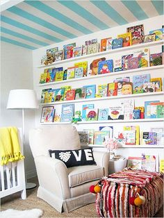 Ceiling Stripes. Cute library for kids. #home #decor http://www.ivillage.com/girls-bedroom-decorating-ideas/6-b-494132#522825