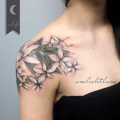 Color realism jasmine flower by Analisbet Luna Fegan. realism colorrealism…Color realism jasmine flower by Analisbet Luna Fegan. Jasmin Flower Tattoo, Flower Vine Tattoos, Flower Tattoo Back, Flower Sleeve, Flower Tattoo Shoulder, Tattoo Flowers, Bild Tattoos, Dope Tattoos, Body Art Tattoos