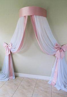 Baby Bedroom, Baby Room Decor, Girls Bedroom, Bedroom Decor, Bed Crown Canopy, Princess Room Decor, Rideaux Design, Elegant Baby Shower, Girls Bedding Sets