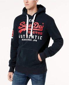 Superdry Men's Vintage Logo Duo Hoodie In Stadium Navy Mens Sweatshirts, Hoodies, Superdry Mens, Men's Vintage, Print Logo, Jacket Style, Leather Jacket, Graphic Sweatshirt, Anton