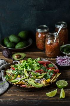 salad nachos with home preserved zesty salsa
