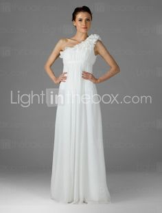 Empire One Shoulder Floor-length Chiffon Over Mading Bridesmaid/ Wedding Party Dress