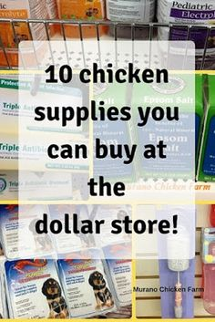Products I bought at the dollar store for my chickens