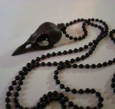 Gothic Jewelry, Dark Bird Skull Necklace, Quality Metal Casting, USA Metal, Black Ball Chain on Etsy, $28.00