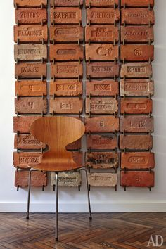 Antique brick collection hung as wall piece