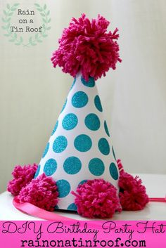 Simple to make, cheap and oh so cute!! Anyone can make this party hat! DIY Birthday Party Hat via RainonaTinRoof.com