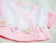 Hand-knitted  children  bolero in white and pink with crocheted sleeves, Spring-Summer,girl fashion, READY TO SHIP