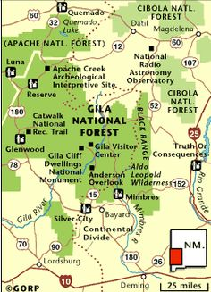 12 Iconic New Mexico Landmarks that Will Take Your Breath Away  Map of the Gila Wilderness and the southwest corner of the state.