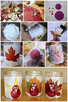 Turkey Leaf Luminaries - These rustic DIY lanterns are made with mason jars and real fall leaves, but you could use silk leaves too. The tutorial makes this autumn nature craft easy, for both kids and Thanksgiving Crafts For Kids, Thanksgiving Decorations, Fall Crafts, Holiday Crafts, Thanksgiving Turkey, Mason Jar Lanterns, Mason Jars, Lantern Craft, Leaf Crafts