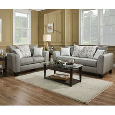 Wonderful Albany Suzannah Gray Twill Loveseat | Furniture And Mattress Outlet