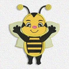 This free embroidery design is a bee. Thanks to Adorable Applique for posting it.
