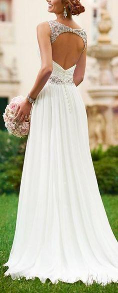 V Neck Shoulder Straps Soft Ruching Chiffon Wedding Gown (1)