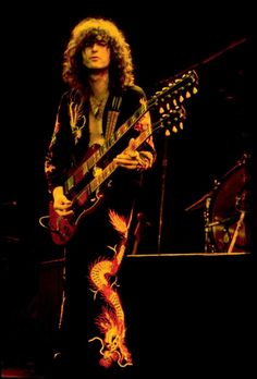Jimmy Page performs during Led Zeppelin's peak in the early '70s.
