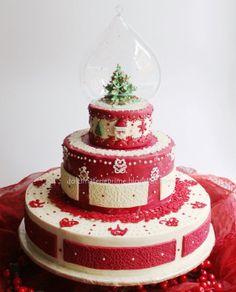 Christmas snowball cake - by Dolcimaterieprime @ CakesDecor.com - cake decorating website