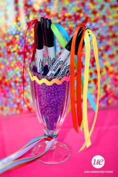 Sometimes its the small details...like pretty ribbons on markers at the registration table. Uncommon Events Designers Diary