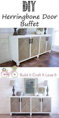 DIY Herringbone Door Buffet Cabinet - flank with tall cabinets. Use this for china. One tall cabint for  the bar. And the other tall cabinet for servig ware