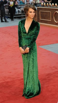 The velvet trend continues with Alicia Vikander in Gucci