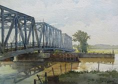 "Dover Swing Bridge by Richard Sneary Watercolor ~ 10"" x 14"""