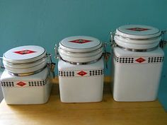New Condition! Retro Coke Cola Canister Set by Gibson