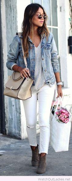 White pants, grey tee and denim jacket