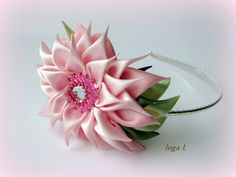 Satin Kanzashi Flower Headband Big Flower Pink and от Invozho, €20.00