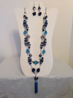 Cobalt Blue and Turquoise Crystal Necklace by JewelryWorksbyCarol, $60.00