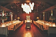 My Bali wedding reception at night - long guest tables / tablescapes