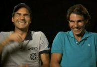 Roger Federer and Rafa Nadal - Oooooh I love this clip! They were trying to rehearse a message about an upcoming charity match and kept cracking each other up!