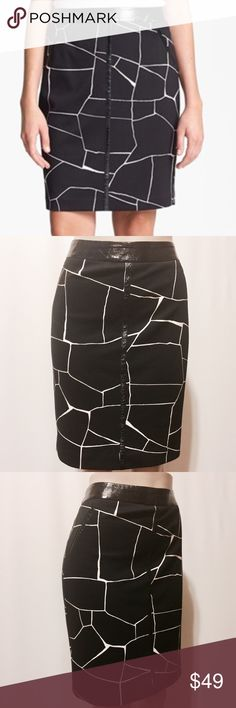 """💫 Vince Camuto Giraffe Printed Pencil Skirt NWOT Stand apart style! Faux patent leather trim pencil skirt. Giraffe inspired print with waistband, pockets and center front patent leather accents. Fully lined, invisible back zipper closure, kick pleat (still closed). 95% Poly 5% Spandex 100% Poly lining Machine Washable 33"""" waist 42"""" hips 40"""" sweep 21""""overall length NWOT #TH0900816 Vince Camuto Skirts Pencil"""