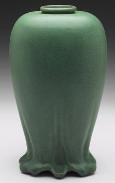 "Teco vase, shape #195, bulbous shape, covered in a good green matte glaze, marked, original paper labels, 5.5""w x 10.5""h"
