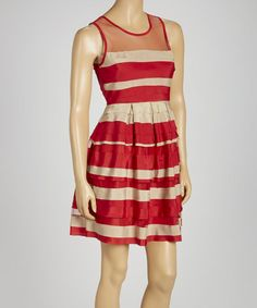 Take a look at this Red Stripe Tiered Sleeveless Dress by Ryu on #zulily today!