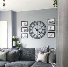 Mirror Decor Living Room, Living Room Clocks, Room Wall Decor, Living Room Interior, Home Living Room, Cozy Grey Living Room, Feature Wall Living Room, Family Room Walls, Decoration