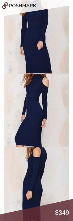 #1531 nasty gal  Girls, it's time to get in line. This navy midi dress features a mock neck, cutouts at shoulders, and ribbed fabric. Unlined. Rock it solo with sneakers or pair it with a moto jacket and strappy sandals! By Nasty Gal.  *Modal/Spandex  *Runs true to size  *Hand wash cold  *Made in U.S.A. Nasty Gal Dresses Midi